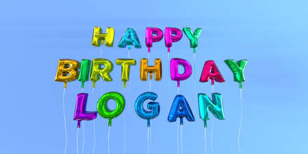 Happy Birthday Logan card with balloon text - 3D rendered stock image. This image can be used for a eCard or a print postcard. Stock Photo