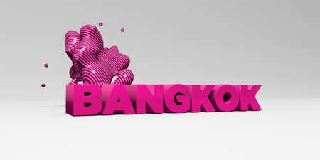 バンコク - 3 D には、カラフルな見出しの図が表示されます。 オンラインのバナー広告や印刷のはがきに使用できます。 写真素材 - 66514617
