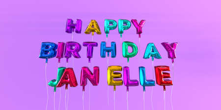 ecard: Happy Birthday Janelle card with balloon text - 3D rendered stock image. This image can be used for a eCard or a print postcard.