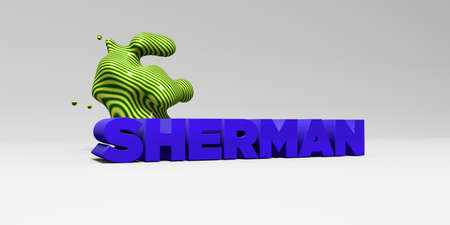 SHERMAN - 3D rendered colorful headline illustration.  Can be used for an online banner ad or a print postcard.