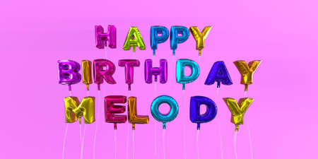 Happy Birthday Melody card with balloon text - 3D rendered stock image. This image can be used for a eCard or a print postcard. Stock Photo