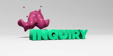 INQUIRY - 3D rendered colorful headline illustration.  Can be used for an online banner ad or a print postcard. Stock Photo
