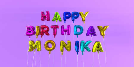ecard: Happy Birthday Monika card with balloon text - 3D rendered stock image. This image can be used for a eCard or a print postcard. Stock Photo