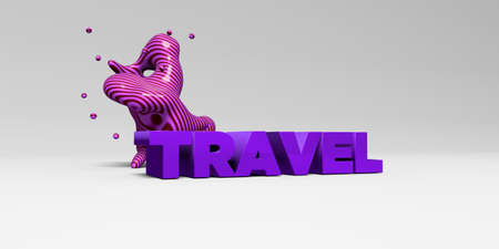 TRAVEL - 3D rendered colorful headline illustration.  Can be used for an online banner ad or a print postcard.