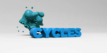 cycles: CICLOS - 3D representa la ilustración colorida titular. Puede ser utilizado para un banner publicitario en línea o una postal de impresión. Foto de archivo