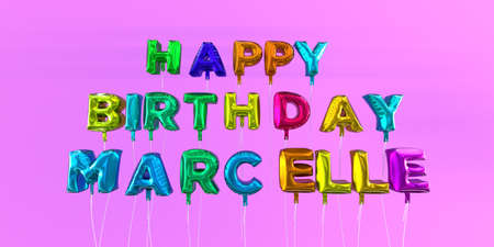 Happy Birthday Marcelle card with balloon text - 3D rendered stock image. This image can be used for a eCard or a print postcard.