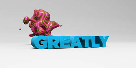 greatly: GREATLY - 3D rendered colorful headline illustration.  Can be used for an online banner ad or a print postcard.