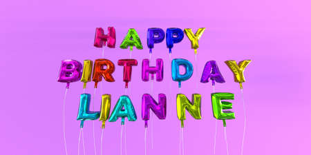 ecard: Happy Birthday Lianne card with balloon text - 3D rendered stock image. This image can be used for a eCard or a print postcard. Stock Photo