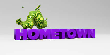 hometown: HOMETOWN - 3D rendered colorful headline illustration.  Can be used for an online banner ad or a print postcard. Stock Photo