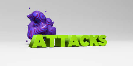 banner ad: ATTACKS - 3D rendered colorful headline illustration.  Can be used for an online banner ad or a print postcard.