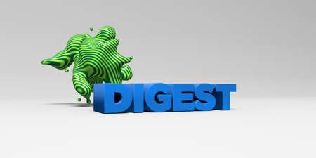 banner ad: DIGEST - 3D rendered colorful headline illustration.  Can be used for an online banner ad or a print postcard. Stock Photo