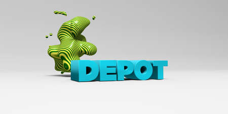 depot: DEPOT - 3D rendered colorful headline illustration.  Can be used for an online banner ad or a print postcard.