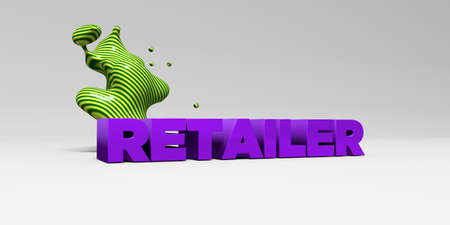 retailer: RETAILER - 3D rendered colorful headline illustration.  Can be used for an online banner ad or a print postcard.