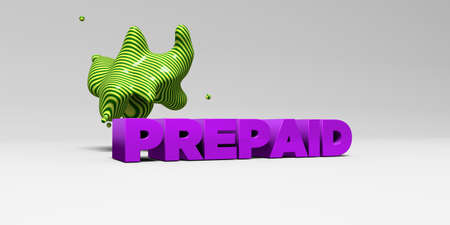 PREPAID - 3D rendered colorful headline illustration.  Can be used for an online banner ad or a print postcard.