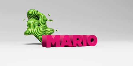 MARIO - 3D rendered colorful headline illustration.  Can be used for an online banner ad or a print postcard. Stock Photo