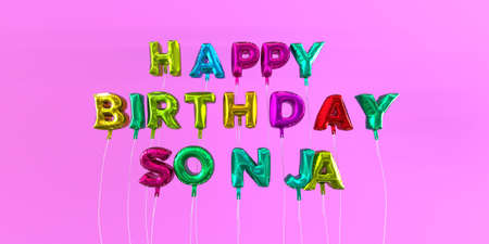 ecard: Happy Birthday Sonja card with balloon text - 3D rendered stock image. This image can be used for a eCard or a print postcard.