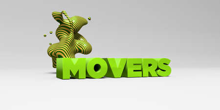 movers: MOVERS - 3D rendered colorful headline illustration.  Can be used for an online banner ad or a print postcard.