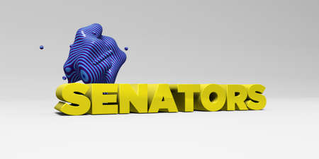 senators: SENATORS - 3D rendered colorful headline illustration.  Can be used for an online banner ad or a print postcard. Stock Photo
