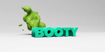 booty: BOOTY - 3D rendered colorful headline illustration.  Can be used for an online banner ad or a print postcard. Stock Photo