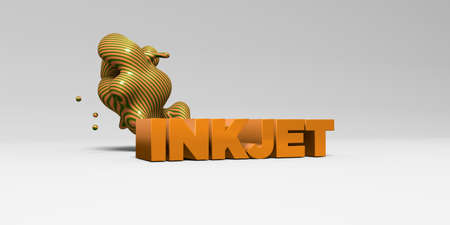 INKJET - 3D rendered colorful headline illustration.  Can be used for an online banner ad or a print postcard.
