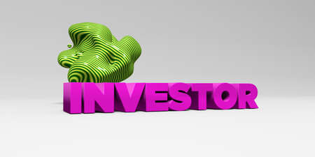 investor: INVESTOR - 3D rendered colorful headline illustration.  Can be used for an online banner ad or a print postcard.