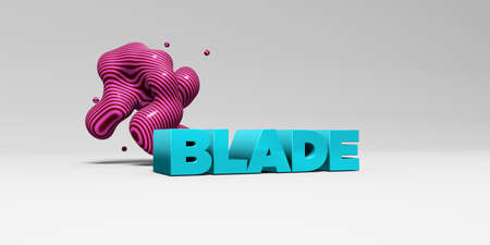 blade: BLADE - 3D rendered colorful headline illustration.  Can be used for an online banner ad or a print postcard. Stock Photo