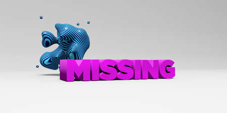 MISSING - 3D rendered colorful headline illustration.  Can be used for an online banner ad or a print postcard.