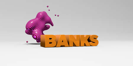 BANKS - 3D rendered colorful headline illustration.  Can be used for an online banner ad or a print postcard. Stock Photo