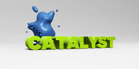 CATALYST - 3D rendered colorful headline illustration.  Can be used for an online banner ad or a print postcard. Stock Photo