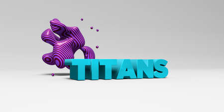 titans: TITANS - 3D rendered colorful headline illustration.  Can be used for an online banner ad or a print postcard.