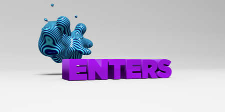 enters: ENTERS - 3D rendered colorful headline illustration.  Can be used for an online banner ad or a print postcard. Stock Photo