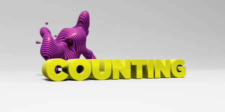 COUNTING - 3D rendered colorful headline illustration.  Can be used for an online banner ad or a print postcard. Stock Photo