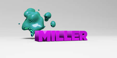 MILLER - 3D rendered colorful headline illustration.  Can be used for an online banner ad or a print postcard.