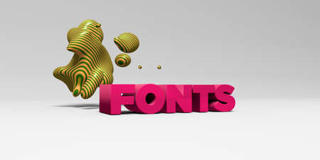 fonts 3d: FONTS - 3D rendered colorful headline illustration.  Can be used for an online banner ad or a print postcard. Stock Photo