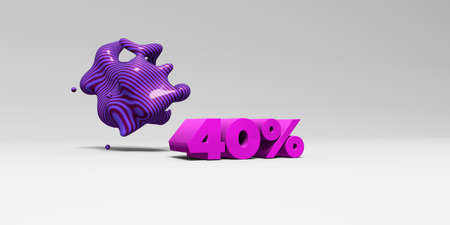 40: 40% - 3D rendered colorful headline illustration.  Can be used for an online banner ad or a print postcard. Stock Photo
