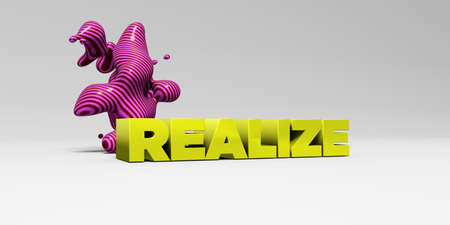 realize: REALIZE - 3D rendered colorful headline illustration.  Can be used for an online banner ad or a print postcard. Stock Photo