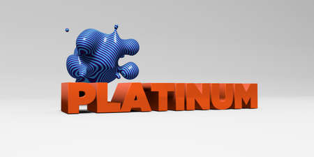 platinum: PLATINUM - 3D rendered colorful headline illustration.  Can be used for an online banner ad or a print postcard. Stock Photo