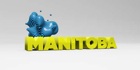 MANITOBA - 3D rendered colorful headline illustration.  Can be used for an online banner ad or a print postcard.