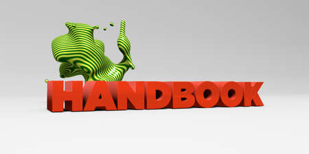 handbook: HANDBOOK - 3D rendered colorful headline illustration.  Can be used for an online banner ad or a print postcard. Stock Photo
