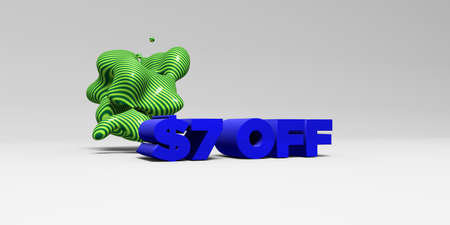$7 OFF - 3D rendered colorful headline illustration.  Can be used for an online banner ad or a print postcard.