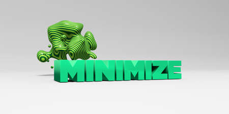 minimize: MINIMIZE - 3D rendered colorful headline illustration.  Can be used for an online banner ad or a print postcard. Stock Photo
