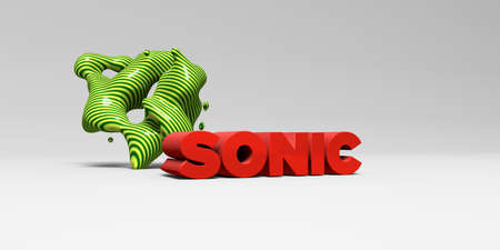 SONIC - 3D rendered colorful headline illustration.  Can be used for an online banner ad or a print postcard.