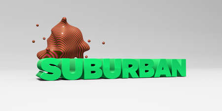 suburban: SUBURBAN - 3D rendered colorful headline illustration.  Can be used for an online banner ad or a print postcard.