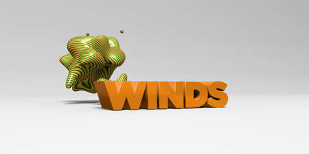 WINDS - 3D rendered colorful headline illustration.  Can be used for an online banner ad or a print postcard.