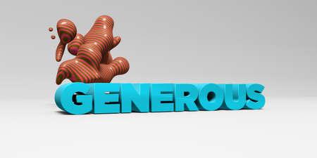 generoso: GENEROSO - 3D representa la ilustración colorida titular. Puede ser utilizado para un banner publicitario en línea o una postal de impresión.