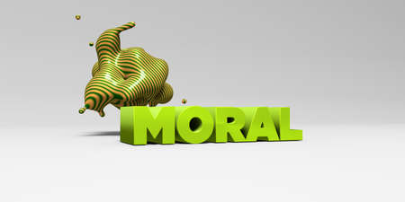 moral: MORAL - 3D rendered colorful headline illustration.  Can be used for an online banner ad or a print postcard.