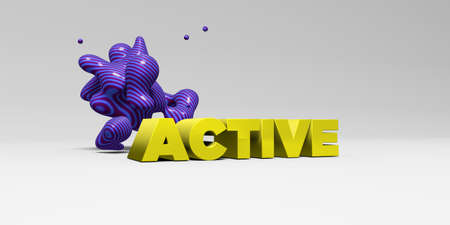 ACTIVE - 3D rendered colorful headline illustration.  Can be used for an online banner ad or a print postcard.