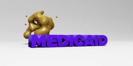 MEDICAID - 3D rendered colorful headline illustration.  Can be used for an online banner ad or a print postcard. Stock Photo
