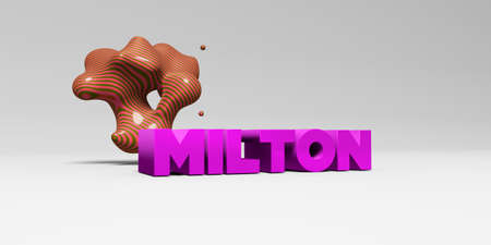 milton: MILTON - 3D rendered colorful headline illustration.  Can be used for an online banner ad or a print postcard.