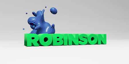 ROBINSON - 3D rendered colorful headline illustration.  Can be used for an online banner ad or a print postcard. Stock Photo